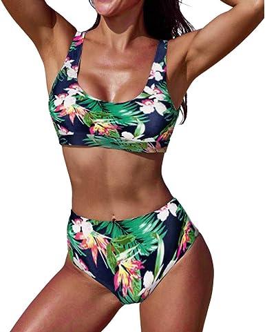 Poachers bañadores de Mujer Natacion 2 Piezas sujecion Traje de baño Mujer Cintura Alta Bikinis Mujer
