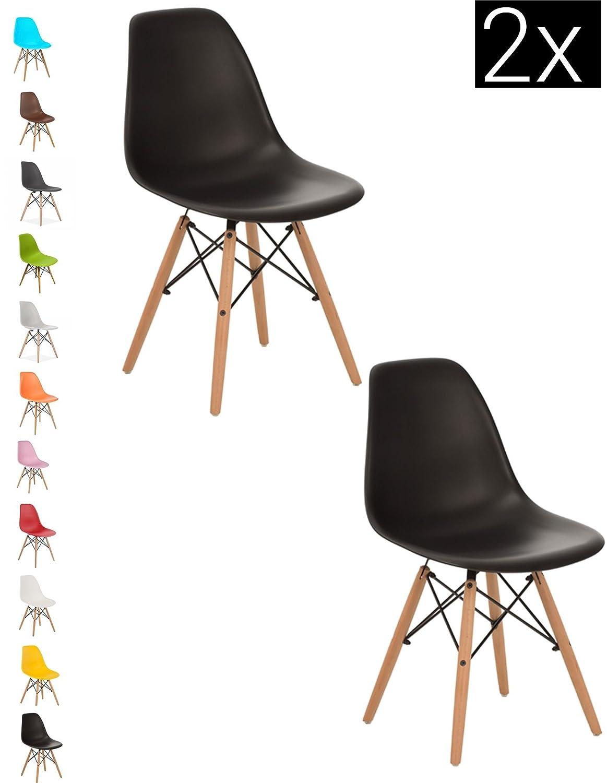 Astounding 2X Black Como Eiffel Dining Chair Plastic Wooden Leg Retro Andrewgaddart Wooden Chair Designs For Living Room Andrewgaddartcom
