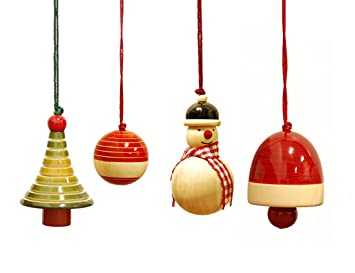 handmade wooden christmas ornaments made using natural colours for decorating the christmas tree yulets collection - Wooden Christmas Ornaments