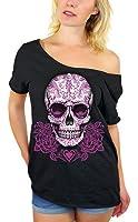 Awkwardstyles Sugar Skull Pink Roses Off Shoulder Tops T-shirt + Bookmark