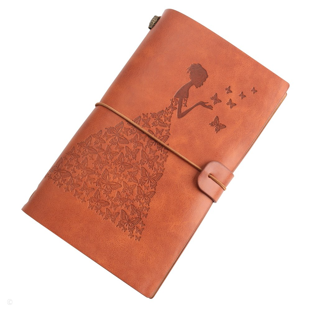 Leather Journal Refillable Travelers Notebook with 18 Card Slots and 1 PVC Zipper Pocket Perfect for Writing Gifts Fountain Pen Users Travelers Professional Diary (brown)