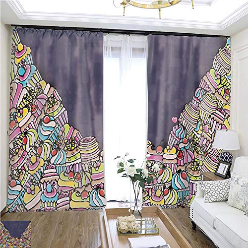 Rollup Window Cupcake Cartoon Doodle Background design13 W96 x L84 Children's Room Loop top Curtain Highprecision Curtains for bedrooms Living Rooms Kitchens etc.