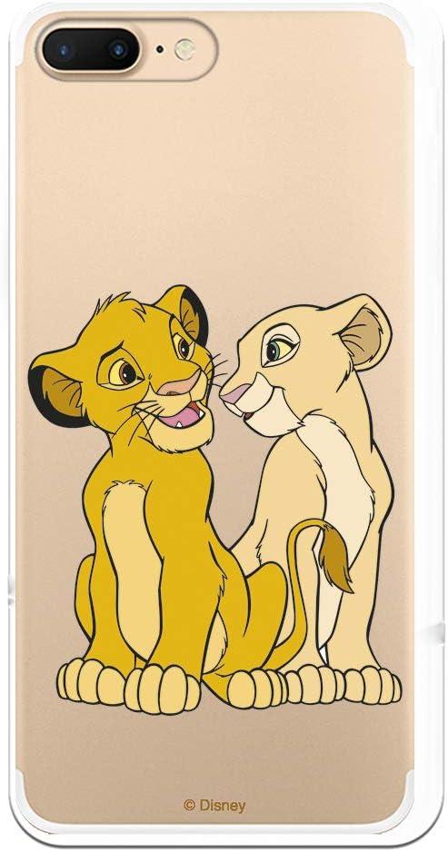 Funda para iPhone 7 Plus - iPhone 8 Plus Oficial de El Rey León Simba y Nala Silueta para Proteger tu móvil. Carcasa para Apple de Silicona Flexible con Licencia Oficial de Disney.