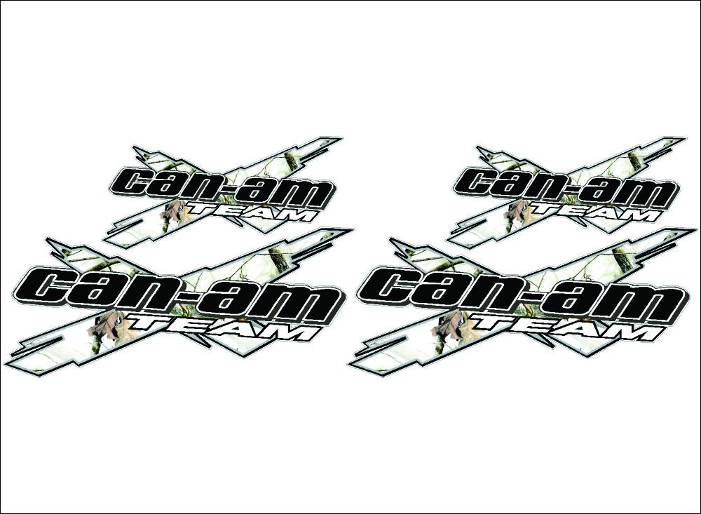 CAN-AM Team 3DX / CAMO WHITE / 4 PACK Vinyl Vehicle ATV Utility Graphic Decal Stickers Bermuda Shorts Graphics