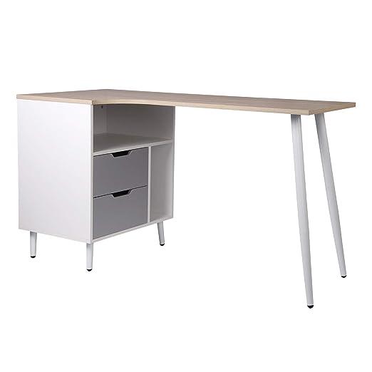 Esituro Scd0091 Bureau Table En Bois Et Acier Avec étagère