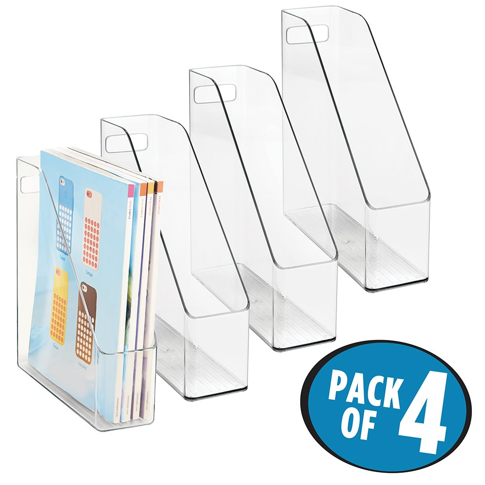 mDesign Office Supplies Desk Organizer for File Folders, Magazines, Notebooks - Pack of 4, Clear