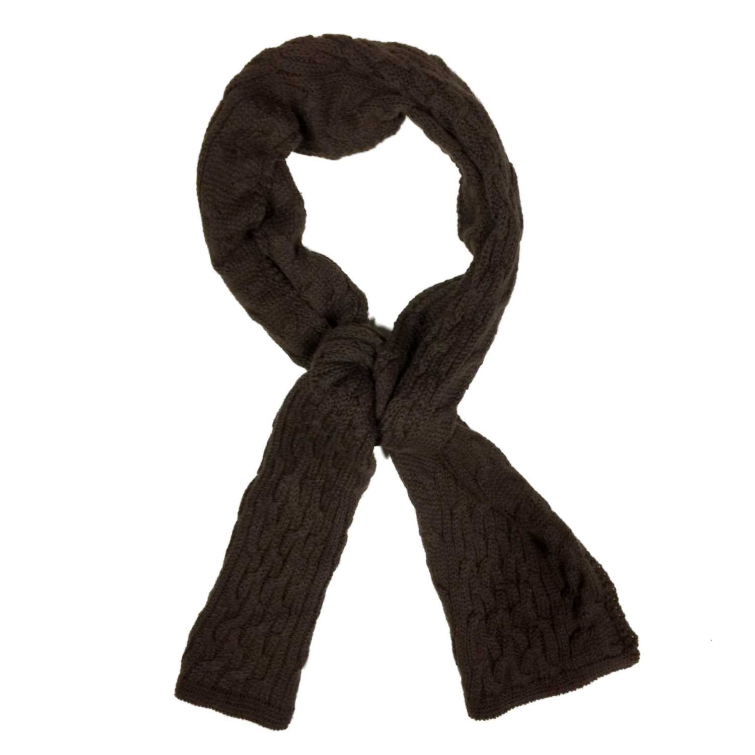 4a233276a5999 Fownes Womens Chocolate Brown Cable Knit Winter Neck Scarf at Amazon  Women's Clothing store: