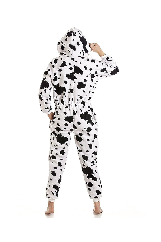 Camille Womens Dalmatian Print Hooded Onesie Pyjama