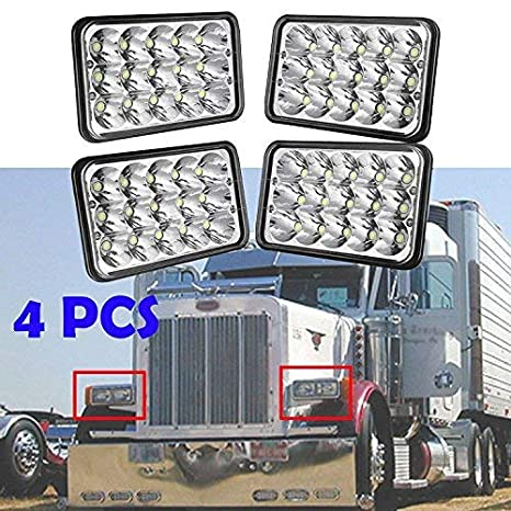 4x6 LED Headlight for Peterbilt 357/378 / 379, High and Low Sealed Beam,  Rectangular Super Bright Headlamp Replacement Bulbs fits