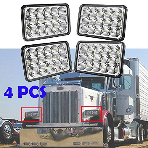 4x6 LED Headlight for Peterbilt 357/378 / 379, High and Low Sealed Beam, Rectangular Super Bright Headlamp Replacement Bulbs fits H4651/H4652/H4656/H4666/H6545 - Package of 4