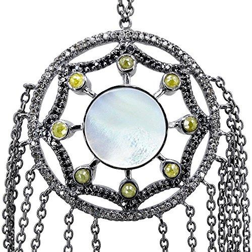 (2.99ct Diamond Pave MOP Gemstone 925 Sterling Silver Hand Harness Slave Bracelet)