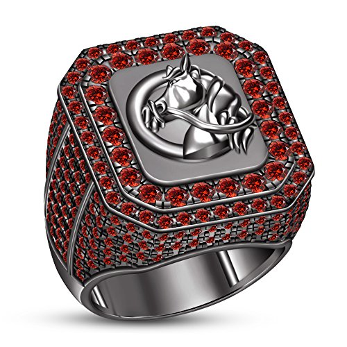 TVS-JEWELS Daliy Wear And Parttys Men's Ring Round Cut Red Garnet Stone Black Rhodium Plated 925 Silver (9)