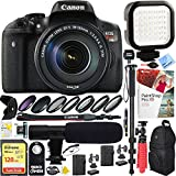 Canon EOS Rebel T6i Digital SLR Camera w/ EF-S 18-135mm IS STM Lens Kit (0591C005) with 128GB SDXC Dual Battery & Shotgun Mic Pro Mobile Video Bundle