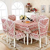 HuaShaoThe Simplicity Of The Rectangular Living Room, Dining Table And Chairs Set Sewing Kit Home Chairs And Cover, The Tulip Red 4 4 Against The &180Cm Diameter Round Table Cloth