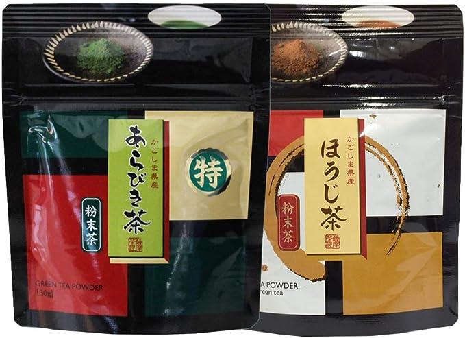 あらびき茶30g・ほうじ茶粉末30g×各1袋入|粉末緑茶・鹿児島茶|非売品一煎パック付(深蒸し茶)