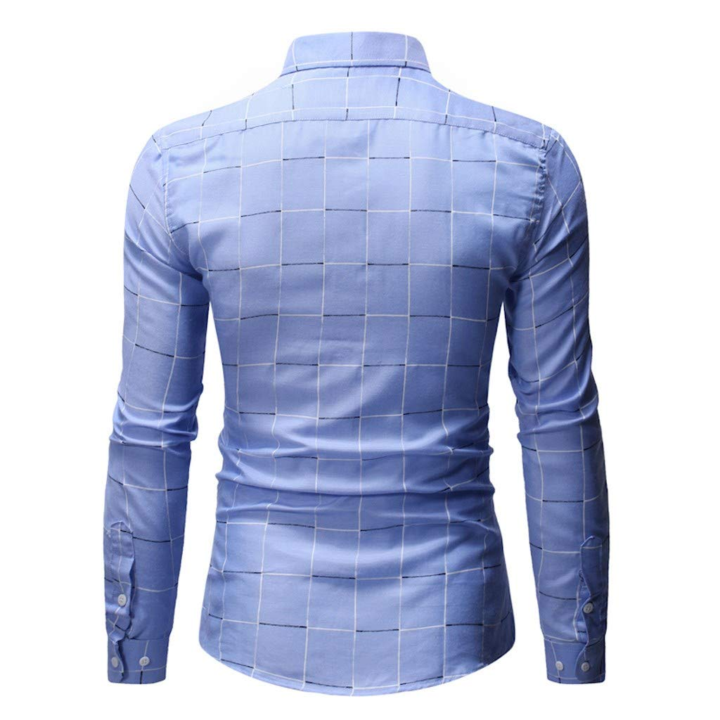 Stand Collar Button Down Long Sleeve Office Undershirt Masculinous Holiday Tops Plaid Shirts for Men