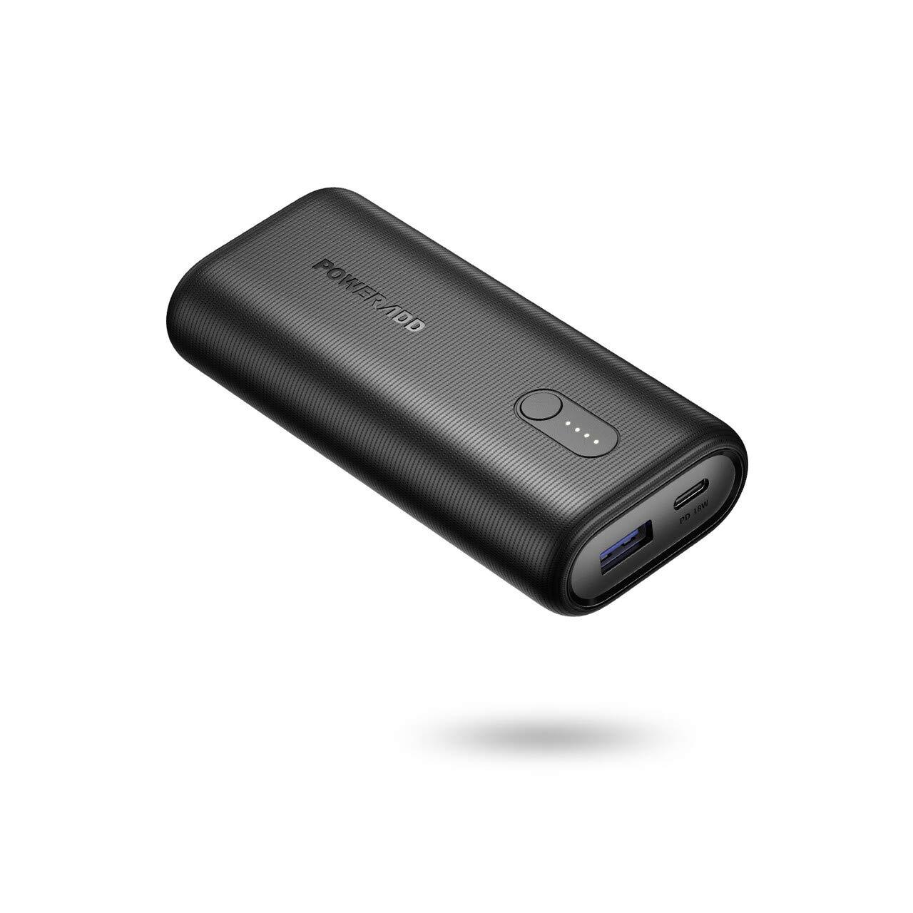 POWERADD 10000mAh Batterie Externe 18W PD Ultra Mini EnergyCell II avec Port Entrée et Sortie USB C Power Delivery Charge Rapide pour iPhone Huawei Samsung Wiko-Noir
