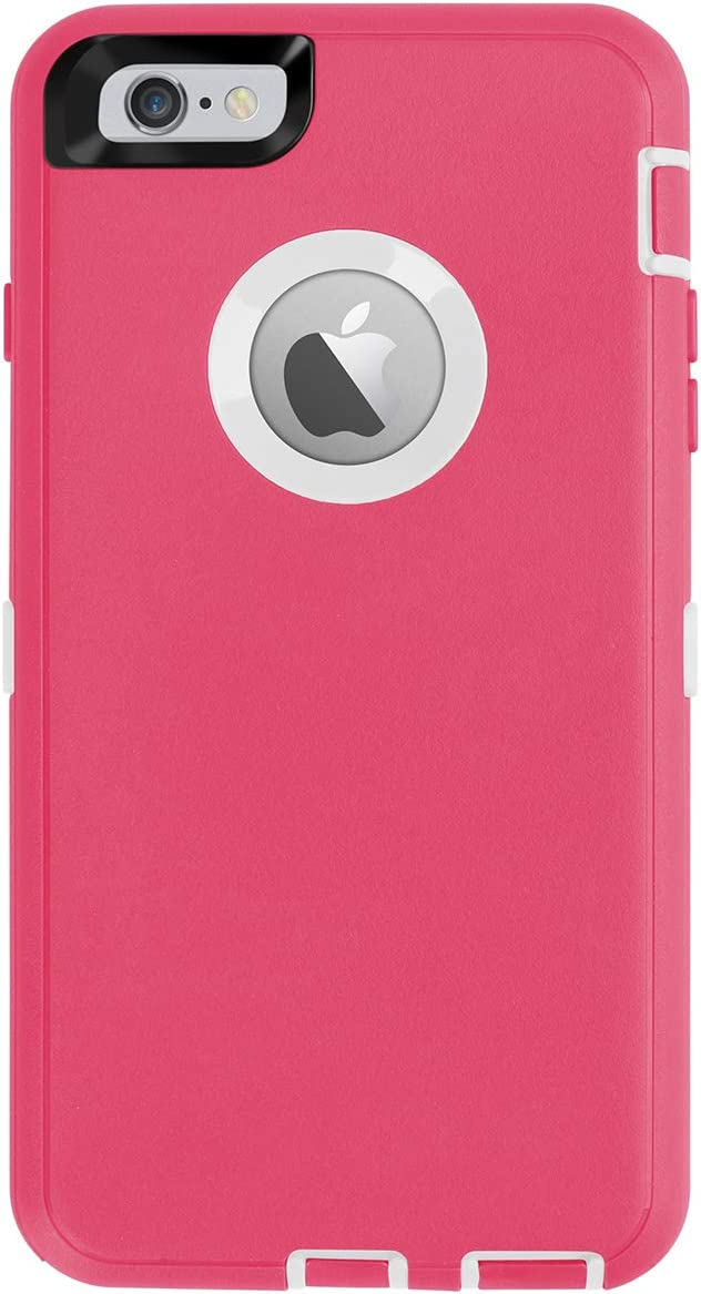 AICase iPhone 6 Plus Case,iPhone 6S Plus Case [Heavy Duty] Built-in Screen Protector Tough 4 in 1 Rugged Shockproof Cover for Apple iPhone 6 Plus / 6S Plus (Pink/White)