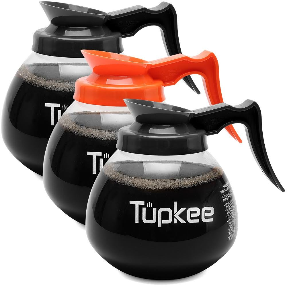 Glass Coffee Pot Replacement Carafe - 12 Cup Coffee Pot - 64 oz, Set of 3-2 Black Regular Handle and 1 Orange Decaf Handle Commercial Coffee Decanter by Tupkee