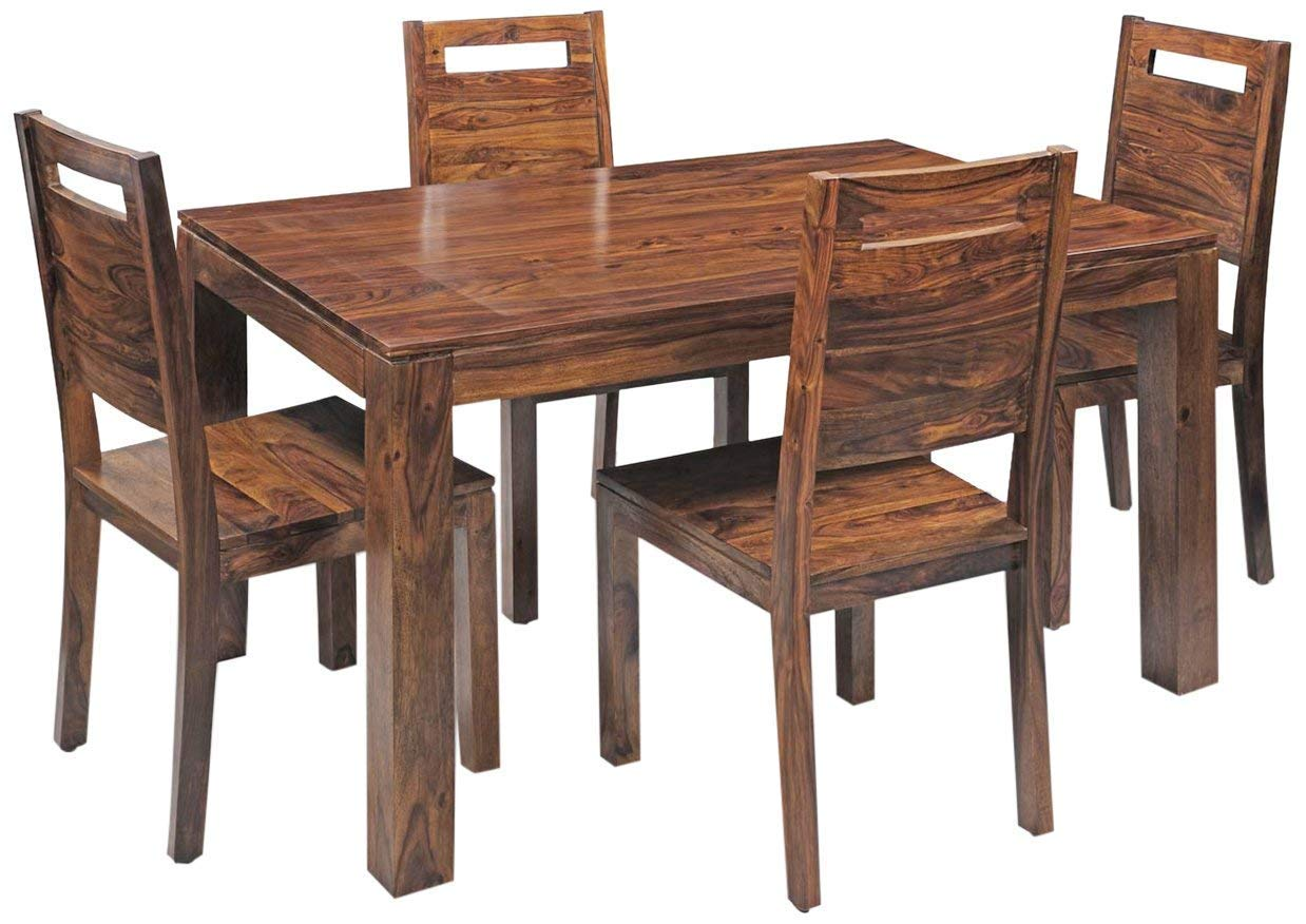Shyam Wooden Décor Solid Sheesham Wooden Saphire Four Seater Dining Table Set Honey Amazon In Home Kitchen