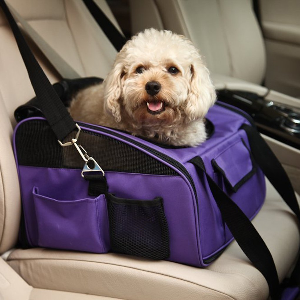 Meiying Pet Car Seat Carrier for Dog Cat , Puppy Small Pets Travel Cage Lookout Booster Seat U2BCMY486-BLACK-L