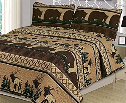 Queen Quilt Set 3 Piece Comforter Bear Elk Log Cabin Lodge Rustic