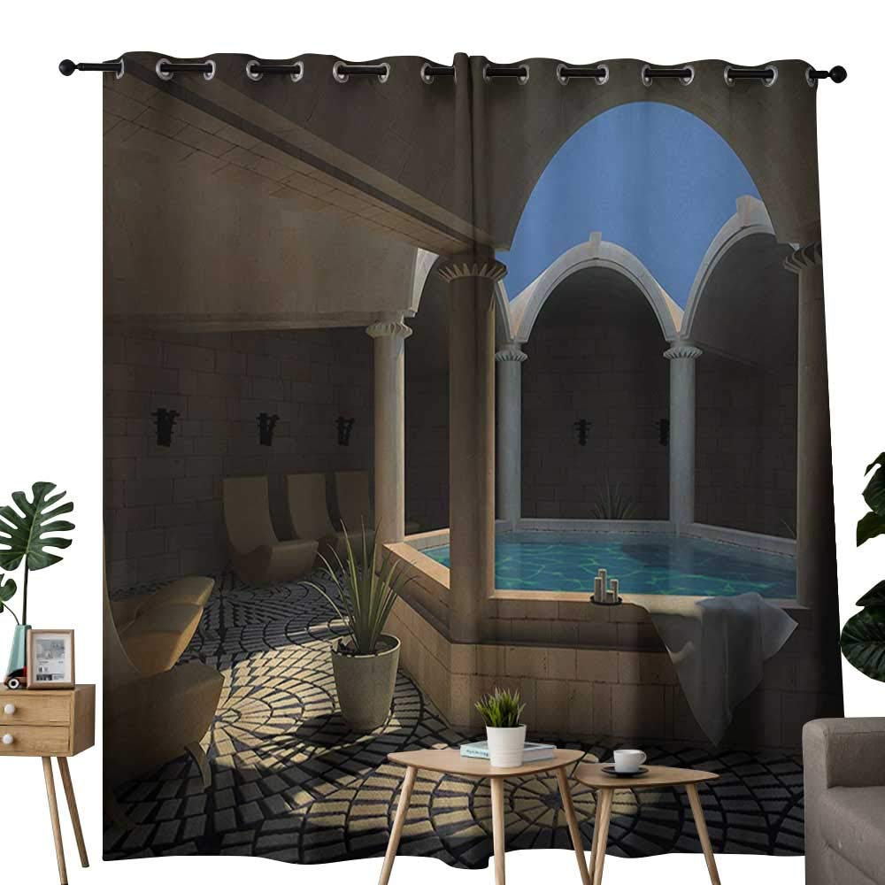"""Beihai1Sun Doorway Curtain Landscape Inside View of A Spa Hotel with Bathtub in The Circle Centre Therapy Photo Print Grommet Curtains for Bedroom 84"""" W x 107"""" L Grey Blue"""
