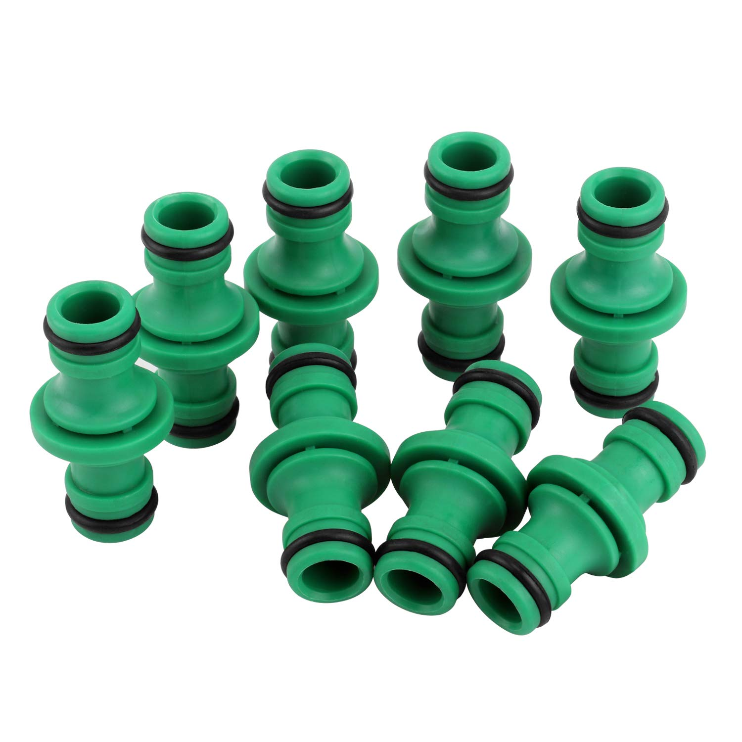 Alcoon 8 Pack Double Male Hose Connectors Extender for Join Garden Hose Pipe Tube (Green)