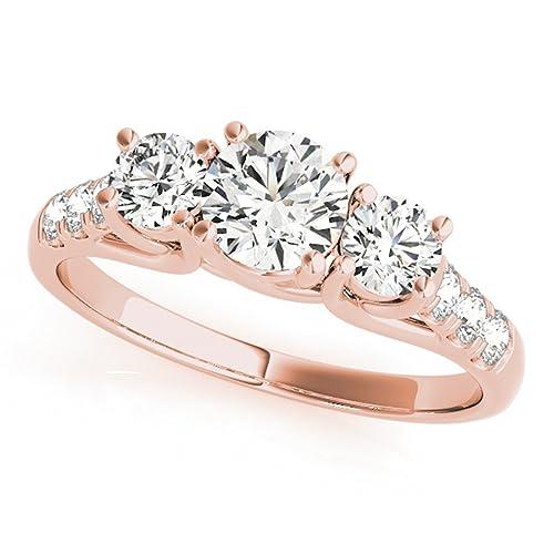 Amazon.com: Anillo de compromiso de diamante clásico de tres ...