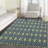 Antique Area Rug Carpet Victorian Baroque Ornament Motifs Royal Tile Design Renaissance Living Dining Room Bedroom Hallway Office Carpet 3'x4' Dark Blue Pale Yellow Cream