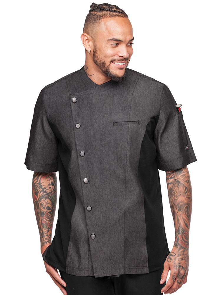 Men's Chambray Chef Coat with Mesh Side Panels (S-3X, 4 Colors) (Small, Black) by Industry Line
