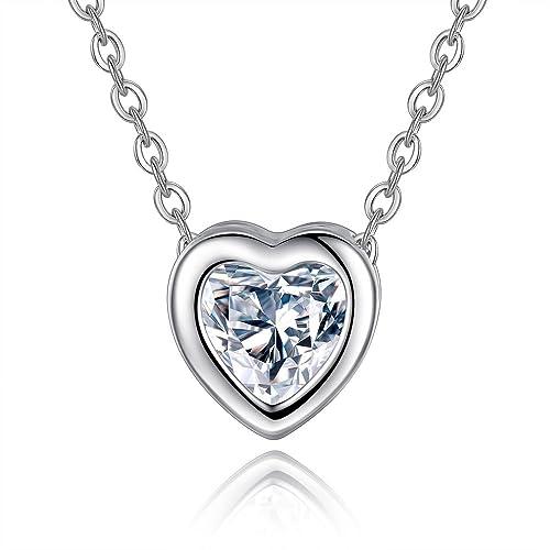 CJbrother Halskette Damen Kette mit Herz Anhänger 925 Silber 5A Zirkonia  Schmuck 45CM Kettenlänge Geschenk  Amazon.de  Schmuck aee256bd50