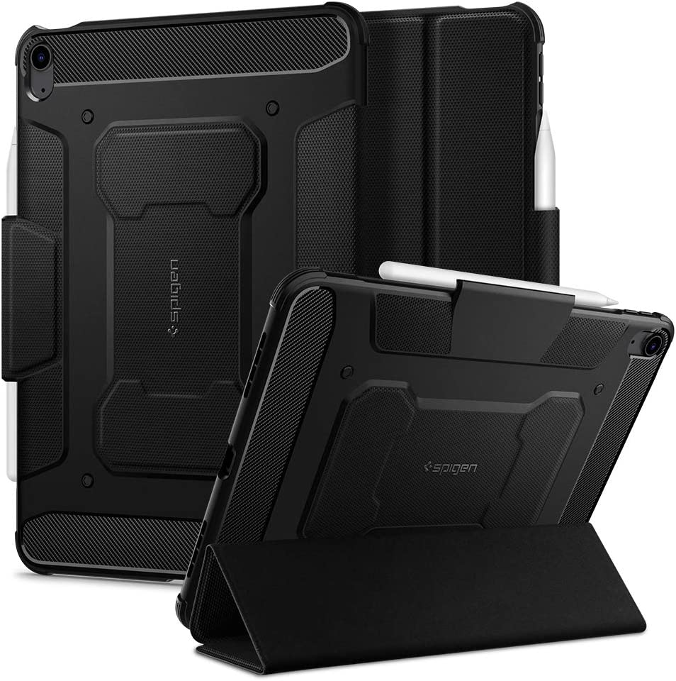 Spigen Rugged Armor Pro Designed for iPad Air 4th Generation 10.9 Inch Case with Pencil Holder (2020) - Black