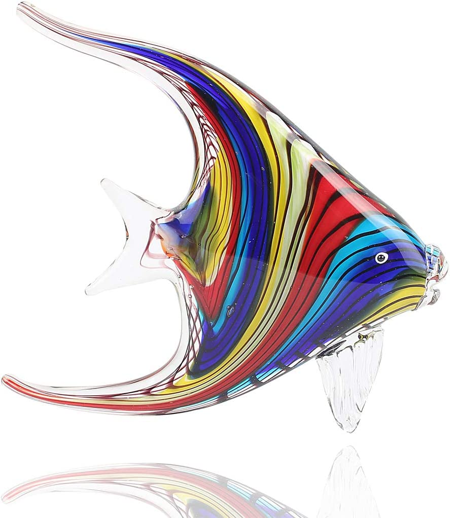 Hophen Art Glass Crystal Tropical Angel Swallow Fish Blown Handmade Sea Animal Figurine Sculpture Home Decor Collectible Statue Paper Weight Gift Ornament (Rainbow)