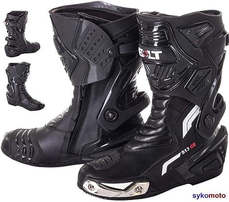 Dettagli su Stivali Stivaletto Moto Sportivo Racing Pelle Pista Professionale CE EN13634