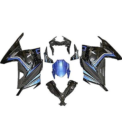 Azul w/negro pintado plástico ABS Inyección Kit carenado traje ...