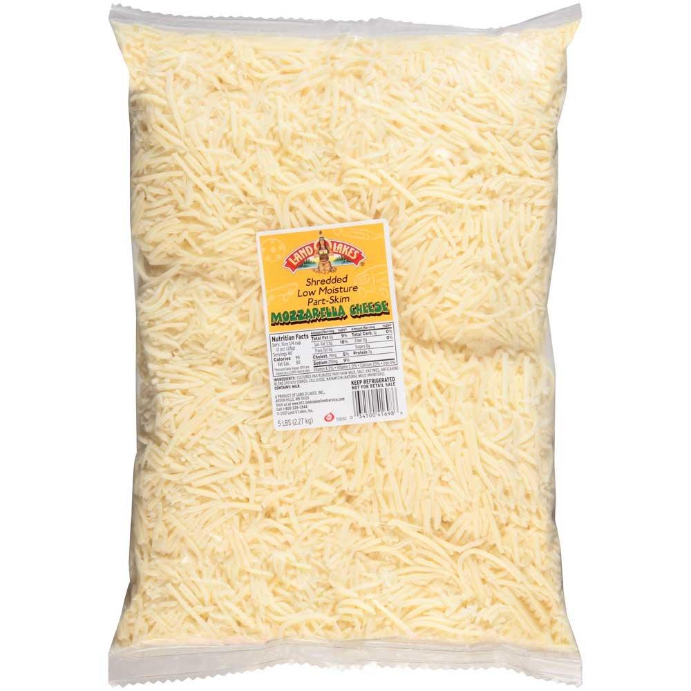 Land O Lakes Shredded Low Moisture Part Skim Mozzarella Cheese, 5 Pound -- 4 per case.