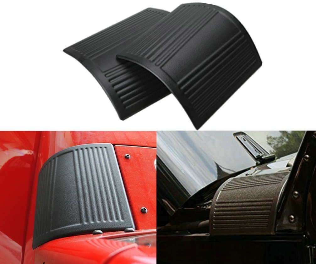 Black Cowl Body Armor Outer Cowling Cover Accessories Pair for Jeep Wrangler JK JKU JL JLU Rubicon Sahara Sport X & Unlimited 2/4 door 2007-2018 (Classic version) Opall