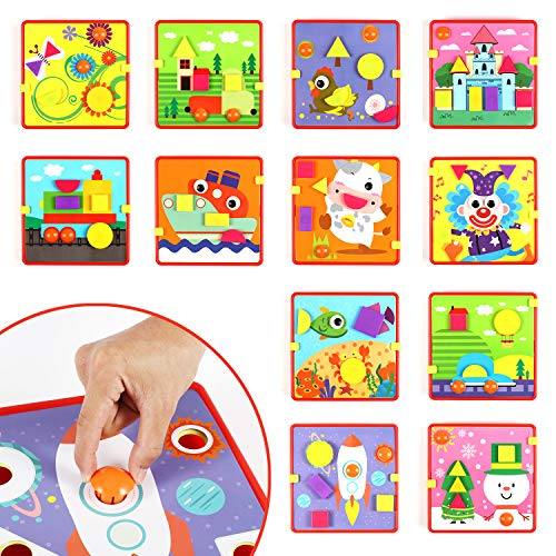 Glonova Button Art Color Matching Mosaic Pegboard Set for Toddlers, Color & Geometry Shape Cognition Skill Learning Toys(12 Pictures & 24 PCS Buttons) ()
