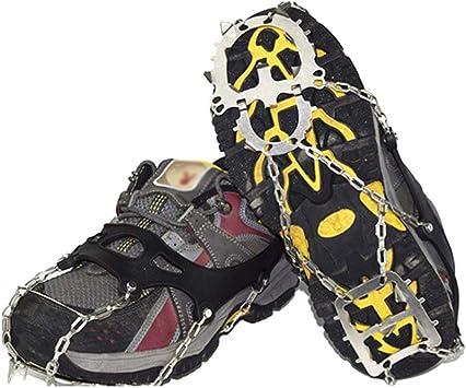 Lioobo - Botas de nieve con pinchos para escalada, 18 dientes ...