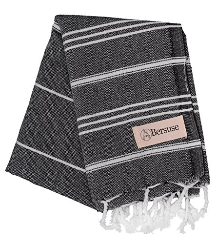 Bersuse 100% Cotton - Anatolia Hand Turkish Towel Pestemal - Baby Care Kitchen Tea Dish Washcloth - Travel Gym Head Hair Face Peshtemal - Classic Striped - 22X35 Inches, Black - Absorbent & Ultra Soft: Our peshtemal hand towels dry you off quickly. Great for baby care, kids, men and women with sensitive skin. Works great as a hair towel or face towel. You can easily wrap around your head Lightweight & Compact: Just pack & fit in your bag easily. Takes up much less storage space than a traditional terry towel Machine Washable & Quick Drying: Gets softer and more absorbent with every wash. Dries faster than fluffy towels. They do not get smelly - bathroom-linens, bathroom, bath-towels - 61KxGVloKOL -