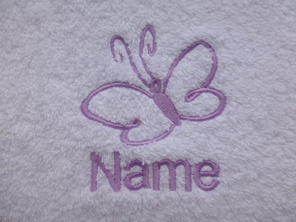 Toalla de baño con una mariposa Logo y tira de nombre de cada tu elección (por favor envíanos un mensaje con sistema toalla Color, nombre todo tipo de hilos ...