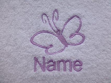 Toalla de baño con una mariposa Logo y tira de nombre de cada tu elección (