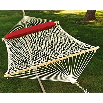 algoma 2   person cotton rope hammock with pillow amazon     algoma 2   person cotton rope hammock with pillow      rh   amazon