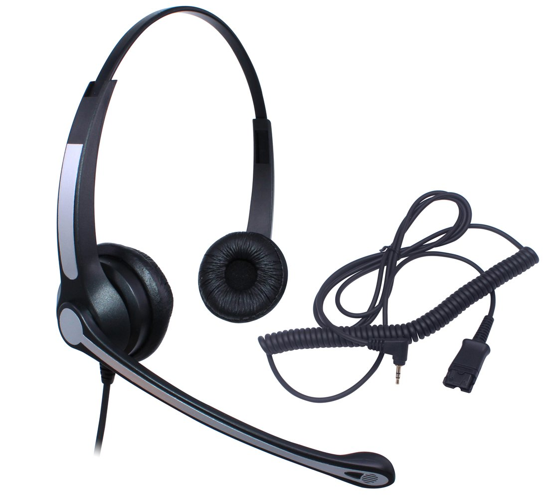 Audicom 2.5mm Call Center Headset with Mic + Quick Disconnect Headphone for Cisco Linksys SPA SPA921 SPA922 SPA941 SPA942 SPA962 303 501G 502G 504G 508G 509G 525G Telephone IP Phones(702RQD25A)