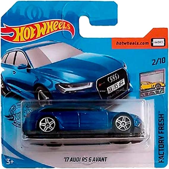 Short Card by Mattel Hot Wheels 2019 17 Audi RS 6 Avant Factory Fresh Blue 214//250