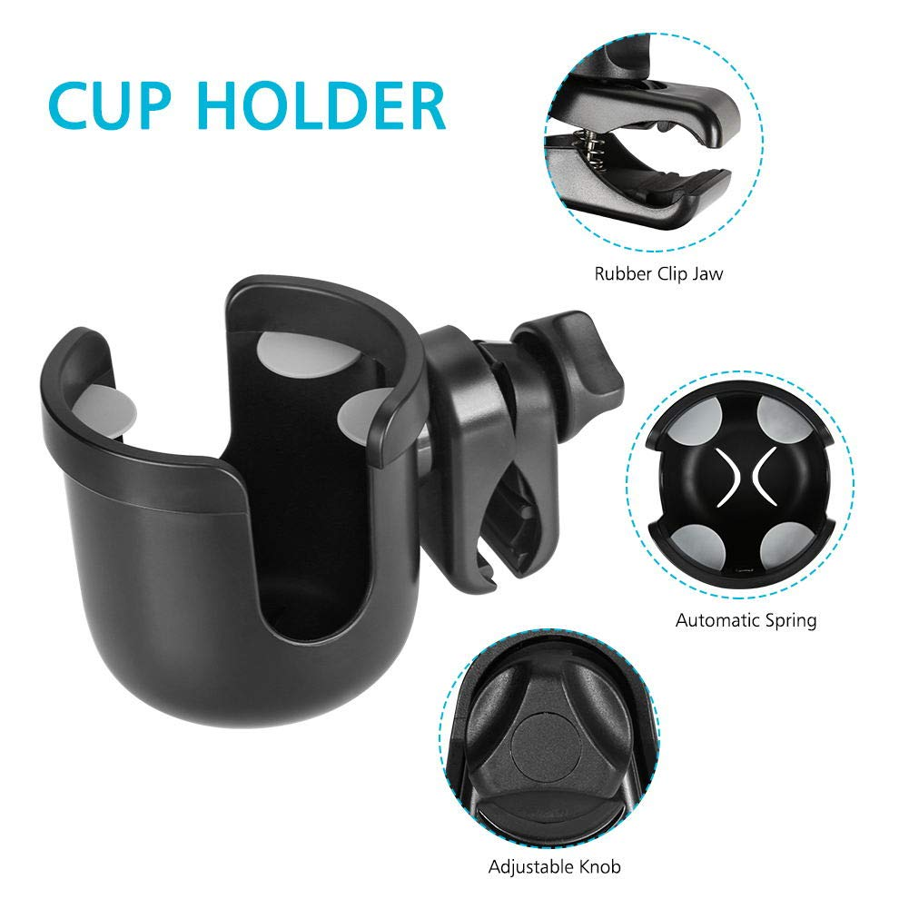 Accmor Universal Cup Holder, Stroller Cup Holder, Large Caliber Designed Cup Holder, Fit for bottle with handle, 360 Degrees Universal Rotation Cup Drink Holder for Baby Stroller, Pushchair Wheelchair by Accmor (Image #3)