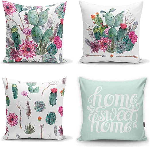 Summer Tropical Cactus Floral Decorative Throw Pillow Covers 18 x 18 inch Set of 4,ZUEXT Cotton Linen Burlap Square Outdoor Cushion Cover Pillow Case for Car Sofa Bed Couch Decor Green Plants Flower