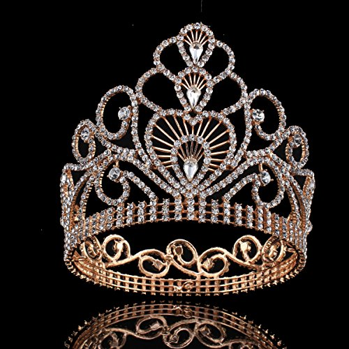 FUMUD Magnificent Clear Austrian Rhinestone Tiara Crown Wedding Bridal Pageant Party Crown Height 4.6