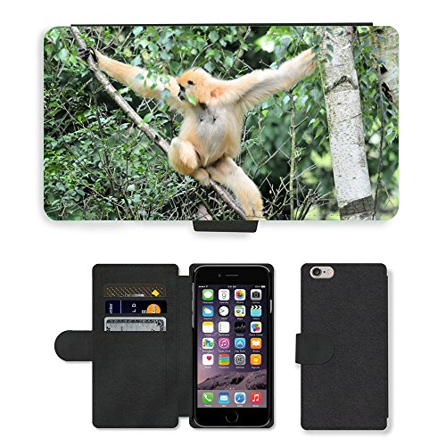 """Just Phone Cases PU Leather Flip Custodia Protettiva Case Cover per // M00128607 Monkey Business Zoo Food Series // Apple iPhone 6 PLUS 5.5"""""""